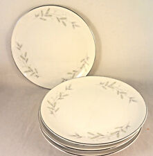 St Regis Pattern 101 Floral Bread & Butter Plates (4) Gray Green Leaves on White