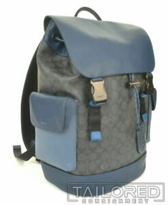 NEW - COACH Rivington Gray Signature Canvas Blue Leather Backpack 89510