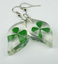 Vogue rhombus Style Jewelry Earring Shamrock Four Leaf Clover Lucite