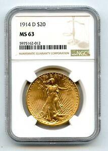 1914-D $20 Twenty Dollar Saint Gaudens Gold NGC MS63
