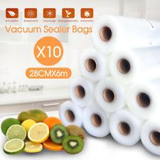 10 Rolls Vacuum Food Bag Sealer Saver Seal Storage Commercial Heat Grade 6MX28cm