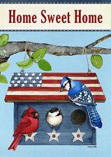"FM58 PATRIOTIC LIVING BIRDS AT BIRDHOUSE SUMMER 12.5""x18"" GARDEN FLAG BANNER"