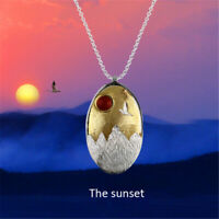 Elegant 18k Gold Oval Pendant Solid 925 Silver Mountain Sunset Agate Jewelry