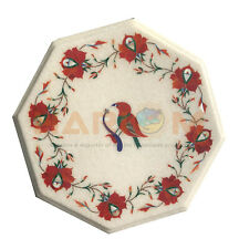 "12"" White Marble Coffee Table Top Carnelian Mosaic Floral Inlay Home Decor W560"