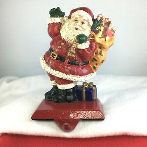 Santa Claus Bag Sack of Toys Cast Iron Christmas Stocking Hanger Holder Heavy