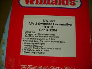 WILLIAMS NW-201 BOSTON & MAINE NW-2 SWITCHER LOCOMOTIVE B&M 1204 NEW IN BOX