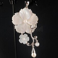 Fashion New Natural White Freshwater Mother Of Pearl Shell Flower Pendant