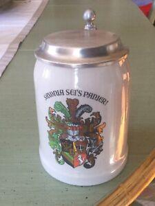 Studentenkrug Saxonia sei's Panier Zinndeckel Bierkrug