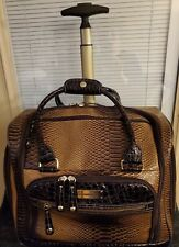 Samantha Brown Croco Embossed Ombre Underseater Luggage Brown/Goldenrod w/extra!