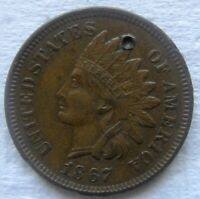 1867 Indian Head Cent Rare Date XF Details