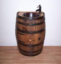 Half Whiskey Barrel Vanity-Dark Copper Sink-Bronze Faucet-Access Door-FREE SHIP