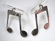 Musical Eighth Note Earrings Sterling Silver Dangle Musician Music Sheet Music