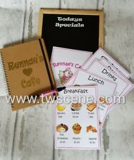 Childs play cafe menu with specials board opening times notebook pen laminated