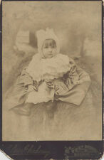 CABINET CARD PORTRAIT OF BEAUTIFUL BABY ON HAY BAIL - BOSTON, MASS