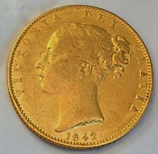 More details for 1842 gf/avf queen victoria sovereign open 2 type rare r2 in marsh.