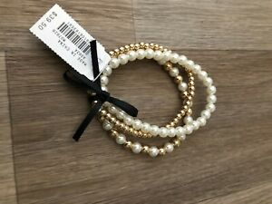 J. Crew Factory Gold, Pearl, stretch Beaded Bracelet 3-Pack - NEW with Tags