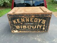Antique Kennedy's Biscuit Wooden Box Cambridgeport Mass Tit Willow Wood Crate