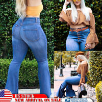 Women's Plus Size Flared Bell Jeans Skinny Denim Pants High Waist Retro Trousers