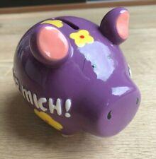 KCG Keramik Sparschwein - Nur für mich - Lila Blümchen - Spardose