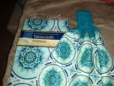 Crocheted Hanging Double Thick Kitchen Dish/Hand Towel W/ Matching Tablecloth