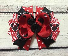 Handmade Red And Black Minnie Mouse Stacked Boutique Hair Bows
