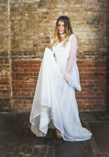 1960s True Vintage Angel Sleeve Nylon & Lace White Wedding Dress Gown UK12/14