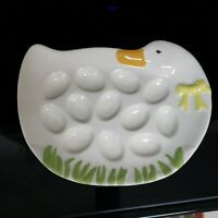 Vintage Ceramic White Duck Deviled Egg Tray Yellow Bow 12 Deviled Eggs 8""