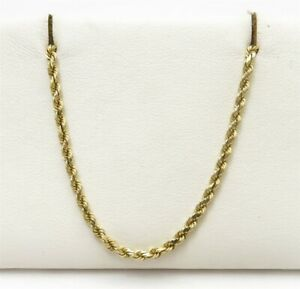 """14K Yellow Gold ~2.6MM Heavy Rope Link Chain Necklace 18"""""""
