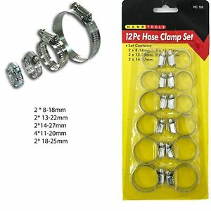 12 Hose Clips Jubilee Clamp Band Small Pipe Steel Clamps Plumbing Grip Worm Gear