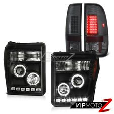 """11-16 Ford F-250 Smoked Taillights Headlights Halo Ring Halo Rim """"High Power"""""""