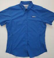 Columbia Womens PFG Tamiami II Short Sleeve Shirt Blue Vented Size Medium
