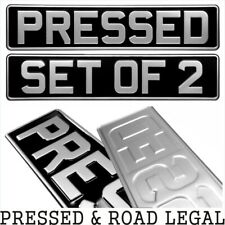 SET OF 2 OBLONG Black and Silver Pressed Number plates Car Metal Classic (pair)