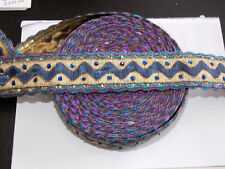 35 mm Navy Purple Gold Crystal brodé ruban Applique Parage decor tresse