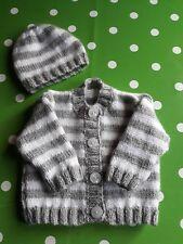 Baby Boys Handknitted Cardigan & Hat set, Size Newborn