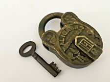 Lock Old Vintage Brass Padlock With Key Rich Patina Collectible Decorative