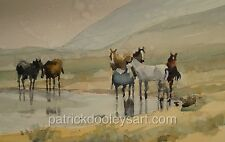 Original watercolor painting 14x20 Horses at their watering hole USA artist
