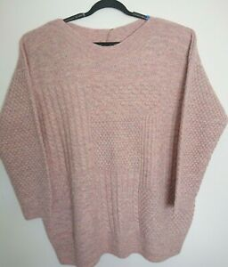 M&S Indigo Jumper Size 22 Dusted Pink Marl Alpaca Oversized Textured Sweater
