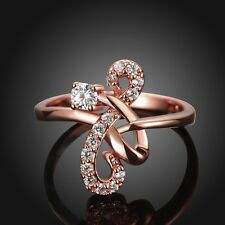 18K Rose Gold GP Inlay Swarovski Crystal Infinity Design Wedding Engagement Ring