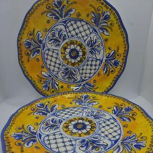 "Le Cadeaux Melamine Benidorm Blue/Yellow 11"" DINNER Plates - set of 3 - NEW"