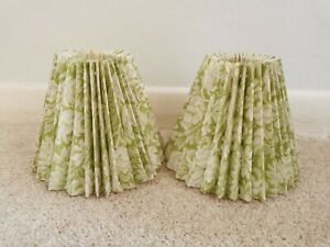 Pair Of Small Candle Clip Pleated Green Floral Lampshades