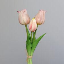 3 Stück 18 cm Kunstblume Dekoblume Dekotulpen Tulpen im Glas weiß