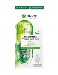 Garnier Face Sheet Mask Detox Niacinamide Vegan Oily Skin Moisturizing Fresh
