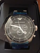 100% NEW Emporio Armani AR0585 Mens Stainless Steel Black Dial Chronograph Watch