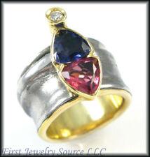 LADIES 18K YG MISANI BLUE & PINK SAPPHIRE DIAMOND RING