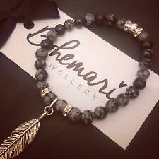 Snowflake obsidian feather charm bracelet gemstone bijoux jewellery boho gypsy