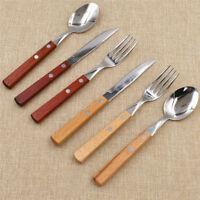 18Pcs Wooden Handle Kitchen Cutlery Flatware Tableware Western-style Food Set