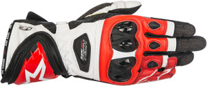 Alpinestars Black White Red Supertech Leather Motorcycle Racing Street Gloves
