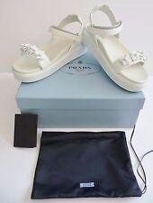 Prada NIB White Embellished Leather Platform Low Sandals Size 39 9 B Retail $825