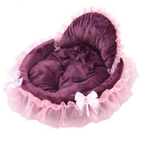 Pet Cat Dog Puppy Princess Bowknot Lace Ruffle Kennel Doghouse Warm Soft Bed Hot