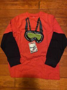 Gymboree Snow Legend Boys 8 Orange Ski Goggles Tee Shirt Top NEW NWT